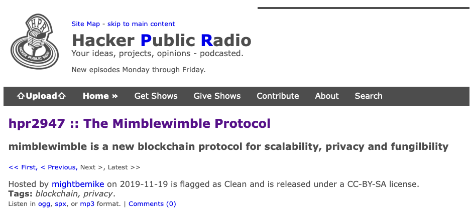 hpr2947 :: The Mimblewimble Protocol